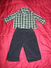 Baby Boy's Jonathan Strong 3-6 Mos Set Plaid Shirt & Black Cordury Pants EUC