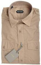 Tom Ford Luxury Military Shirt Cotton 15 1/2 39 Khaki Brown 14SH0128 $650 Imperf