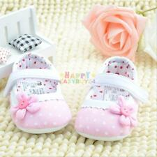 6-12months Baby Girls Dot Flower Baby Shoes Soft Cotton Sole Toddler Crib Shoes