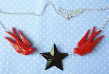 RED SWALLOWS BLACK NAUTICAL STAR NECKLACE ROCKABILLY