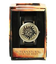 Supernatural ANTI-POSSESSION SYMBOL FAUX LEATHER BAND WRIST WATCH New