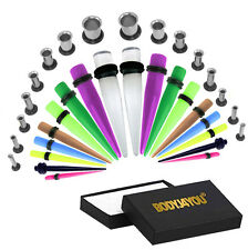 32pcs Ear Tapers Acrylic Mixed Color Taper Lot Single Flare Tunnels Plugs Ear