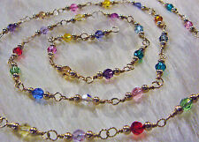 "14K Gold Swarovski Crystals Wire Wrapped Necklace Multi Color 18"" Suasa Kristal"