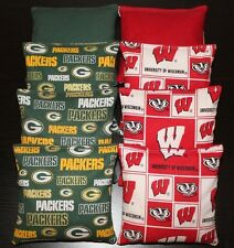 8 CORNHOLE BEANBAGS University of Wisconsin BADGERS Green Bay Packers Game Bags