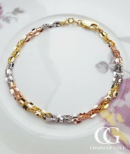 """9ct Three Colour Gold Three Strand Twist Link Chain Bracelet 7.5"""" GIFT BOXED"""