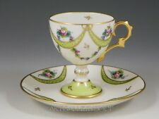 Antique EG Limoges France Hand Painted FOOTED DEMITASSE CUP & SAUCER GOLD GILDED
