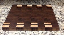 Walnut With Maple Accent Butcher Block Cutting Board NEW End Grain 18 X 24