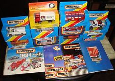 MATCHBOX - RARE 1980's JOB LOT OF 10 x VARIOUS BUSES/CARS/TRAIN ETC & CATALOGUES