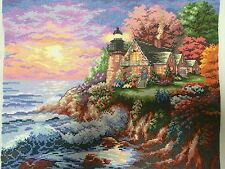 Cross stitch  beautiful seaside cottage finished completed gift sale