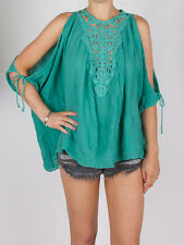 Jens Pirate Booty African Moon Cotton Tunic Top Holiday Teal Green Crochet S M