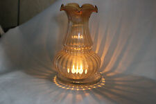 Vintage Art Noveau French Striped Tinted Tea Light Cover Glass Lamp Shade.