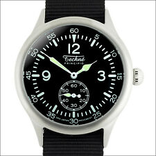 Techne 39.5mm Merlin Quartz Aviator Watch with Black Dial, Nylon Strap 245.023