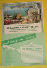 St Lawrence Realty Duluth MN 1954 Sunny Harbor Picture Calendar - Great Pic See!