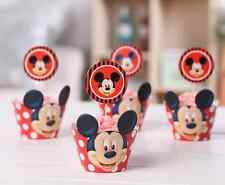 12pcs Mickey Mouse Cupcake Toppers + Wrappers  | Free Same Day Shipping