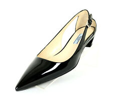 PRADA $690 NIB Black Patent Cut-Out Pointed-Toe Kitten-Heel Pumps 39