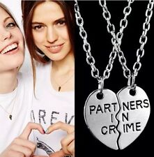 "2pcs ""Partners in Crime"" Broken Heart Pendant Necklace Set Couple Friends BFF"