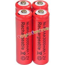 4x AA battery batteries Bulk Nickel Hydride Rechargeable NI-MH 3000mAh 1.2V Red