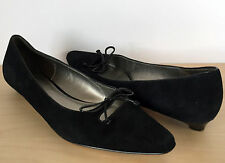 CIRCA JOAN & DAVID Womens Black Suede Leather Bow Low Kitten Heel Pumps Size 8 M