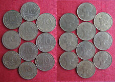 France 10 Centimes 1980, 1981, 1982, 1983, 1984, 1985, 1986, 1987, 1988, 1989