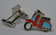 Claret and Blue Scooter Enamel Cufflinks