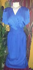 FRANCESCA OF DAMON 12 vintage royal blue PRE OWNED 2 piece silk woman's dress