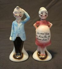 """Vintage Salt and Pepper Shakers As Man & Pregnant Women """"For Old Times Sake"""""""