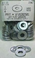 "1/4"" USS Flat Washers Steel Zinc Plated, 5/16""IDx3/4""OD. (100)"