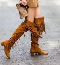 Stunning Zara Tassel / Fringed Over the knee / Thigh High Tan Suede Boots 6