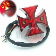 Chrome Moto Maltese Cross LED Feu Stop Arrière Pr Harley Chopper Bobber Custom