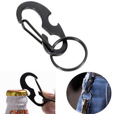 Mini Beer Opener Keychain Clip Snap Hook D Shape Carabiner Buckle with Key Ring