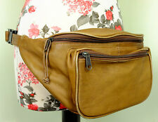 Vintage Adjustable Tan Brown Leather Waist/Hip Belt Bum Bag Festival Travelling