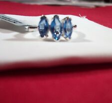 Cerulean Blue Topaz 3-Stone Marquise Ring in 925 Sterling Silver