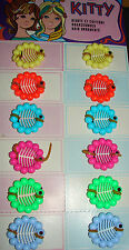 "Vintage Hair Barrettes - Full Card of 12 ""Kitty"" colorful hair grips"