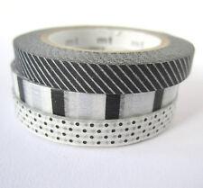 3 pack 6mm mt washi tape - black white silver monochrome stripes polkadots