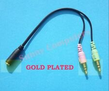 Gold Plated 3.5mm AUX Audio Mic Splitter Cable Headset Adapter Female to 2 Male