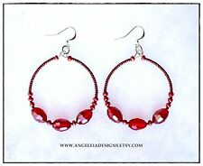 Large Red Crystal Hoop Earrings, Red Beaded Hoop Earrings, Hip Hop