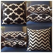 Indoor 45x45cm Reversible Black/White Moroccan/Chevron Cushion Cover