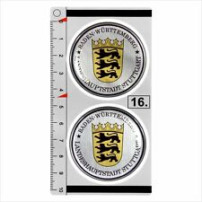 Baden-Wurttemberg set of 2 German Number Plate Seal Stadt 3D Domed Sticker badge