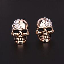 Women Lady Gold/Silver Tone Crystal Diamond Skull Pierced Stud Earrings Jewelry