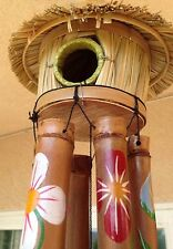 Tiki Bird House Bamboo Wind Chimes Hawaiian Tropical Beach Bar Patio Decor $100.