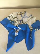 Gucci Silk Scarf Nautical Anchor & Rope Pattern White/Blue Royal Italy!