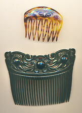2 Vintage Ladies Hair Combs; Early 1900s, Black One with Faceted Black Glass, +