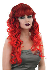 LADIES LONG RED CURLY WIG DEVIL HALLOWEEN PARTY VAMPIRESS WITCH FANCY DRESS NEW