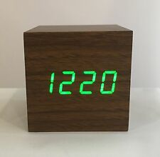 Box - The Wooden LED Clock - Brown with Green LED