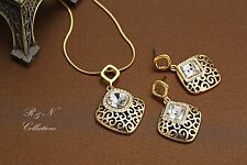 14K Gold Plated Vintage Style Necklace Earring Set W/ Genuine Swarovski S585-31