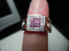 Small Ruby And Topaz Facet Stone New Design Silver Ring Size 6.25 - 20.5 Carats