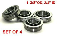 "LOT OF 4, FLANGED BEARINGS 1-3/8""OD,3/4""ID, IH-384881,GO-KARTS,WAGONS,LAWNMOWERS"