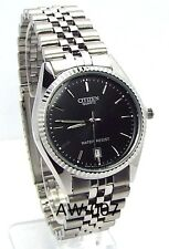 New Citizen Man  Silver-tone, Black-dial,Date-window Dress Watch