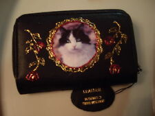 NEW BLACK LEATHER GORGEOUS BLACK & WHITE  CAT   PICTURE PURSE /WALLET