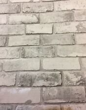 REALISTIC Brick effect white  & grey  Silver Wallpaper Stone Wall  slate tile